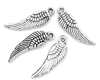 """10 pieces Antique Silver Angel Wing Charms, 17mm( 5/8"""") x 5mm( 2/8"""")"""