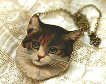 Color Cat Necklace - Cat Necklace - Cat Jewelry - Cat - Brown Cat - Cat Lady - Shrink Plastic - Printed Plastic - Meow - Kitty Jewelry