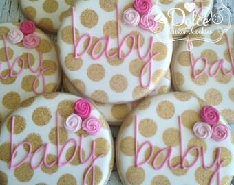 Baby Shower Gold Dot Sparkle Plaque Favor Cookies