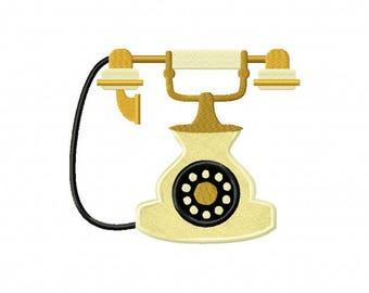 Antique telephone embroidery design, vintage telephone embroidery design