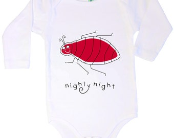 Cotton long sleeve infant one piece with screen printed nighty night bedbug design by Bugged Out, made in the USA