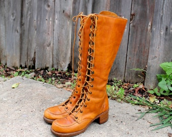 Vintage 70s ZODIAC Lace Up BOOTS 9 N