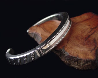 Hand Forged 0 Gauge Super Heavy Solid Sterling Silver Men's Cuff Bracelet ... Made to Order