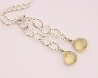 Lemon Quartz Earrings, Sterling Silver, Heart Briolette, Gemstone, Wire Wrapped, Oval Hammered Chain, Long Dangle Dangly - Vera