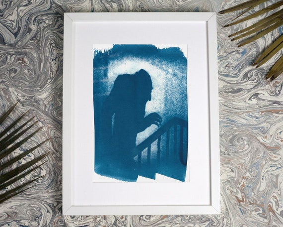Nosferatu Film Still Cyanotype, Art For Movie Lovers, Shadow Cyanotype on Watercolor Paper, Dracula, Nosferatu Doll (Limited Edition)