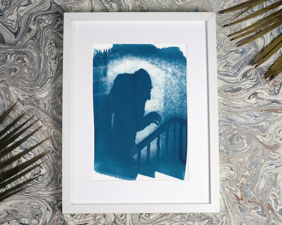 Nosferatu Film Still Cyanotype, Art For Movie Lovers, Shadow of Dracula, Gothic Decor, Husband Gift, Film Buff Gift, Film poster, Vampire