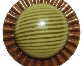 27mm Vintage Yellow Stripes Bubble Top Plastic Button