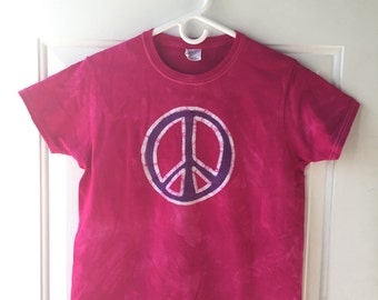 Peace Sign Shirt, Pink Peace Shirt, Purple Peace Shirt, Womens Peace Sign Shirt, Ladies Peace Sign Shirt, Batik Peace Sign Shirt (Ladies M)
