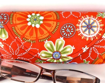 Orange - Floral - Reading Eyeglass Case - Sunglass Case - Magnetic - Gifts for Her