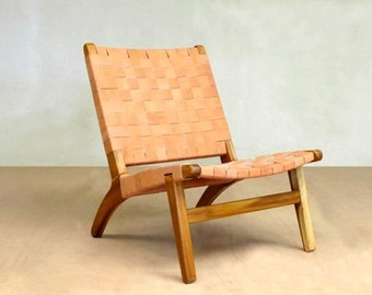 Mid Century Modern Chair, Lounge Chair, Sustainable Wood Furniture, Teak  Chair, Handwoven Leather, Living Room, Danish Modern Accent Chair