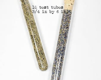 Glass Test Tubes (10) * 3/4 in by 6 in * with corks * glass vials * aromatherapy * spice containers * jewelry supplies