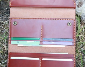 Trifold Handmade Leather Travel Wallet wallet travel wallet travel organizer big leather wallet big wallet trifold wallet Coach wallet Women