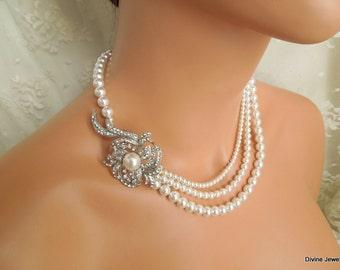 pearl necklace, bridal necklace, bridal pearl necklace, rhinestone necklace, crystal necklace, wedding pearl and rhinestone necklace, SHEILA