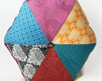 """A walk in the woods 16"""" Handmade Stuffed Hexagonal Wedge Cushion / For the home / Home Decor / Throw Pillow / Floor Pillow / Modern Pillow"""