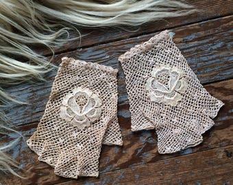 antique crochet fingerless gloves