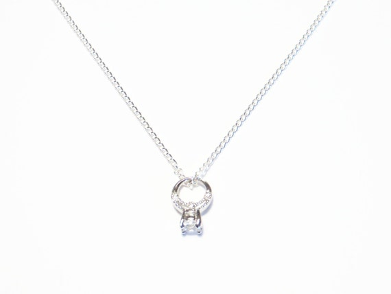 Engagement ring necklace valentines gift tiny engagement like this item mozeypictures Choice Image