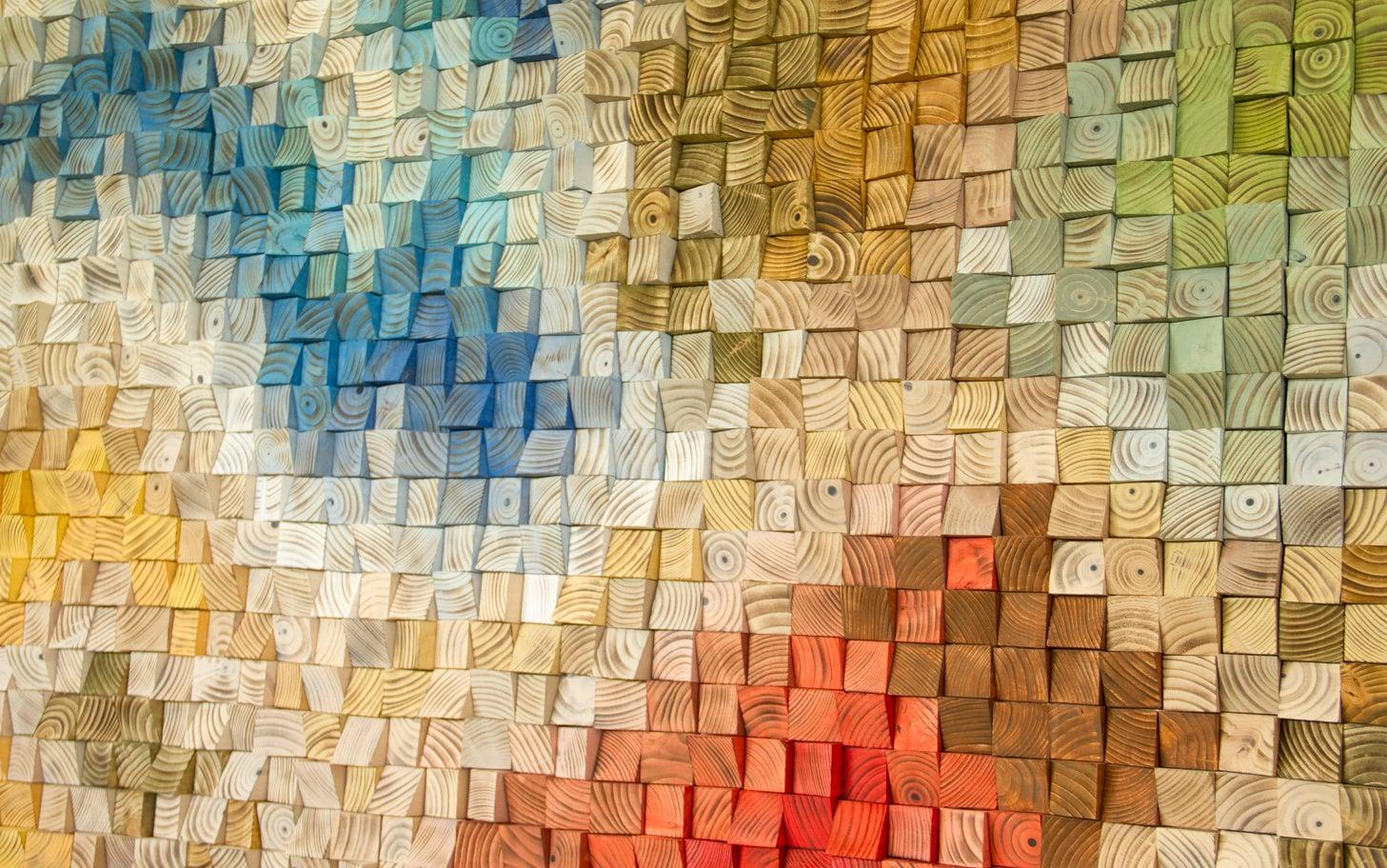 Large Wood Wall Art, 2017 colour trends, geometric art