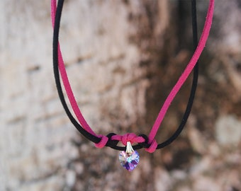 Black and Pink Heart Swarovski Choker