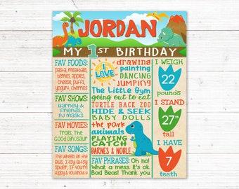 Dinosaur First Birthday Sign | Dino Birthday Chalkboard | Toddler Birthday | Printable | *DIGITAL FILE*