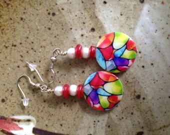 Stained glass mother of pearl earrings with fresh water pearls