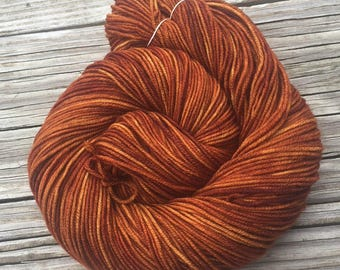 Hand Dyed DK Yarn Copper Cove hand painted yarn 274 yards handdyed dk sport superwash merino wool swm orange rust pumpkin spice