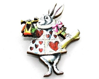 Herald Rabbit Alice In Wonderland Brooch Tenniel Illustration, Wood Jewelry