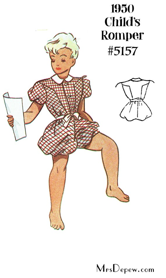 Kids 1950s Clothing & Costumes: Girls, Boys, Toddlers 1950s Childrens Play Suit Romper Depew 5157 in Any Size - PLUS Size Included  -INSTANT DOWNLOAD-Vintage Sewing Pattern 1950s Childrens Play Suit Romper Depew 5157 in Any Size - PLUS Size Included  -INSTANT DOWNLOAD- $7.50 AT vintagedancer.com