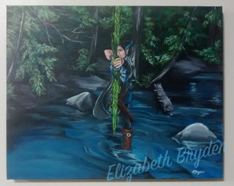 Fantasy Forest Elven Archer, acrylic painting whimsical illustration - Critical Role inspired