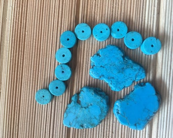 Turquoise Slab beads - 13 pieces - Bead Inventory Clearance