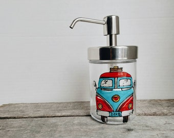 Soap dispenser, glass soap pump Westfalia camping car design hand-painted, 11 oz. gift, personalized it by an quote! Ecological and colorful