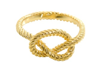Love Knot Ring 18K Yellow Solid Gold Ring Handmade Gold Ring Nautical Ring Contemporary Jewelry  Precious Gift For Her FREE Shipping.