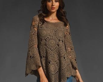 Trendy crochet top PATTERN, crochet TUTORIAL in English (every row), designer crochet sweater pattern, scalloped edge crochet tunic pattern.