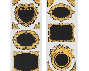 Fancy Gold Frame Chalkboard Label Stickers, 3-Inch, 2-Sheets