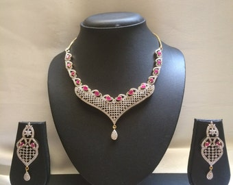 Ruby Choker, Ruby Gulubandh Necklace,Indian Wedding Jewelry,Statement Jewelry,Statement Necklace, Ruby Necklace, Ruby Earrings, Ruby Set