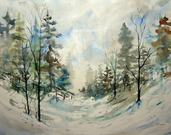 Winter Landscape, watercolor landscape, archival print, winter painting, winter trees, scenic painting, woodland snow scene, watercolor art