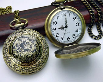 Steampunk Pocket Watch, Bronze and Black Dragon Watch, Pocket Watch Chain, Ornate Engraved Pocket Watch Case - QPW1423