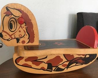 Vintage Wood Rocking Horse Toy