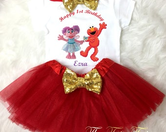 Abby Cadabby Elmo Red Gold 1st First Birthday Custom Age Name Baby Girl Birthday Tutu Outfit Sequins Headband Shirt Tee Party Dress Up