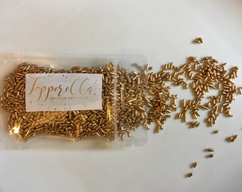 Gold Sprinkles. Gold Jimmies. Cake Sprinkles. Gold Cupcake Sprinkles.