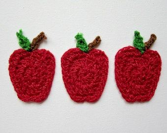 """1pc 3"""" Crochet Red APPLE Fruit Applique"""