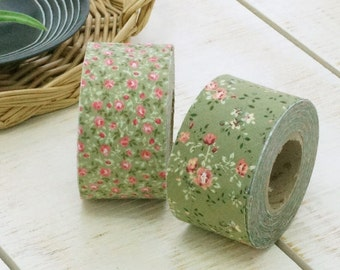 4 cm Madeleine Floral Cotton Bias Tape in Green - 2 Styles, 10 yards by the Roll 96350