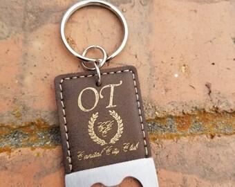 Personalized Engraved Leather Rustic Gold Bottle Opener Keychain, Wedding Gift, Wedding Favors, Groomsman Gift, Keyring, Key FOB, Key Holder