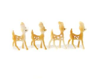4 Tiny Plastic Deer Figurines, Vintage Deer, Miniature Fairy Garden Figure, Terrarium Accessories, Diorama Miniature Craft Figures, Fawn