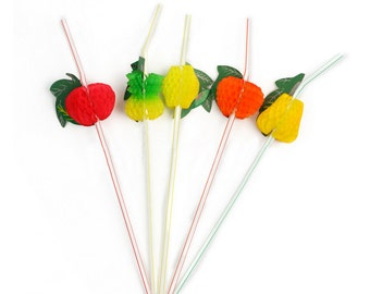 25 3D Pineapple & fruit straws/ Bbq Straws, Hawaiian straws, Luau straws