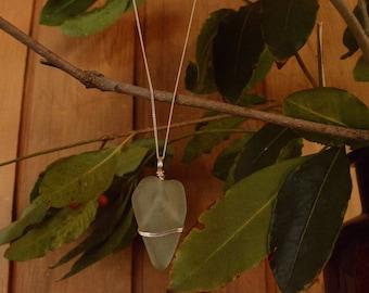 Handmade pendant with large aqua heart-shaped sea glass