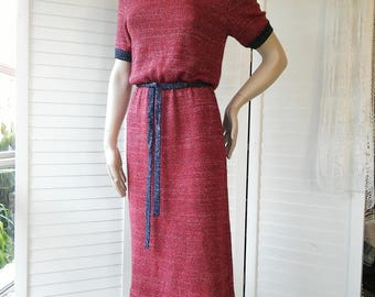 1970's wool red & blue knit sweater dress with belt
