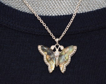 Butterfly Necklace, Rhinestone Accent, Silvertone Setting