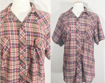 Brown, Red, Blue, and Yellow Plaid western shirt by Sears Western Wear 16-16.5 //Pearl Snap Western Shirt Brown