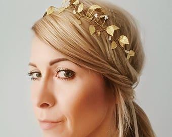 Hair vine with pearl, leafs and rhinestones, wedding vine, bridal tiara,white wedding silver crown, bridal wreath, boho tiara, boho wedding
