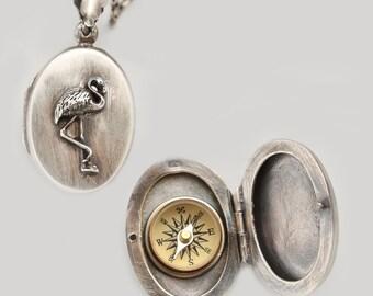 Flamingo Gift, Flamingo Necklace, Compass Necklace Silver, Flamingo Jewelry, Compass Necklace Sterling Silver, Locket Necklace